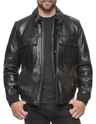 Marc New York Andover Leather Bomber Jacket Black