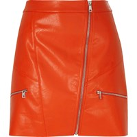 River Island Womens Red Leather Look Zip Mini Skirt