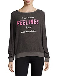 Wildfox Couture Heathered Long Sleeve Pullover Dirty Black