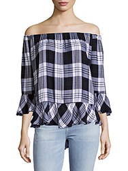 Beach Lunch Lounge Plaid Off The Shoulder Top Ballpoint