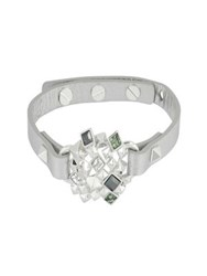 Karl Lagerfeld Pyramid Cluster Swarovski Crystal And Leather Bracelet Silver