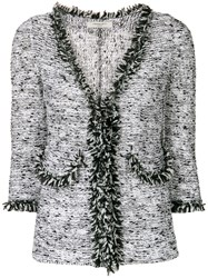 Charlott Frayed Trim Tweed Jacket White