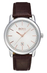 Boss Round Leather Strap Watch 40Mm
