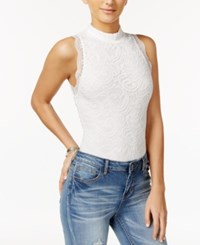Material Girl Mock Neck Lace Bodysuit Only At Macy's Cloud Dancer