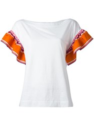 Emilio Pucci Ruffled Sleeves T Shirt White