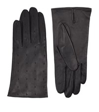 Sandro Garance Embroidered Leather Gloves Female Grey