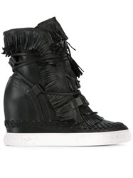 Casadei Fringed Wedge Boots Black