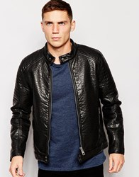 Barney's Barneys Premium Faux Leather Textured Biker Black