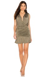 Krisa Drape Skirt Tank Dress In Green. Army