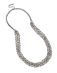 Kenneth Cole Bead Hematite Mesh Long Necklace Metallic