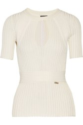 Just Cavalli Pointelle Trimmed Cutout Ribbed Knit Sweater Off White