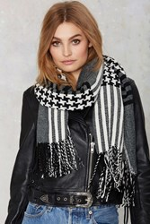 Nasty Gal Lost And Houndstooth Fringe Scarf