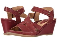 Earth Thistle Garnet Tumbled Leather Women's Clog Mule Shoes Red
