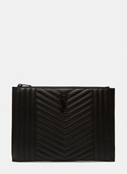 Saint Laurent Poncho Monogrammed Quilted Leather Ipad Case Black