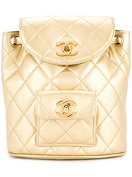 Chanel Vintage Quilted Chained Backpack Metallic