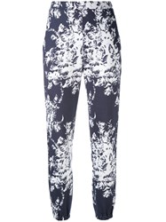 Sonia Rykiel Printed High Waisted Trousers Women Cotton S Blue