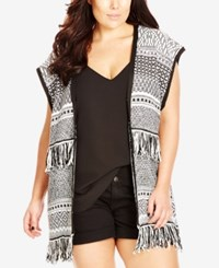 City Chic Plus Size Open Front Aztec Print Vest Ivory
