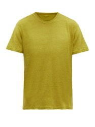 120 Lino Crew Neck Linen T Shirt Yellow