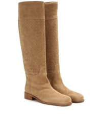 Bottega Veneta Leather Knee High Boots Beige