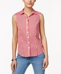 Charter Club Gingham Sleeveless Shirt Only At Macy's Red Barn