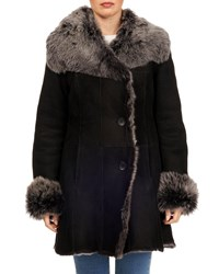 Gorski Toscana Shearling Button Front Coat Black