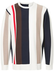 Guild Prime Striped Colour Block Sweater White