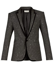 Saint Laurent Sequin Embellished Velvet Trim Tuxedo Jacket Black