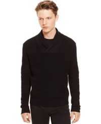 Kenneth Cole Reaction Waffle Knit Shawl Collar Sweater Black