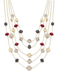Inc International Concepts Gold Tone Red Bead Illusion Necklace Only At Macy's