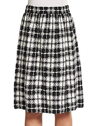 St. John Plaid Pleated A Line Skirt White Black