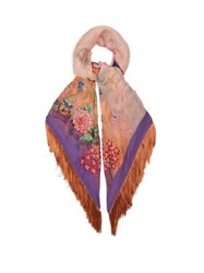 Etro Fringed Floral Embroidered Scarf Multi