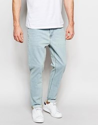 Asos Stretch Tapered Jeans In Green Caste Light Blue Blue