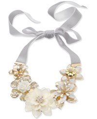 Inc International Concepts Gold Tone Crystal And Imitation Pearl White Flower Velvet Ribbon 42 Statement Necklace Created For Macy's