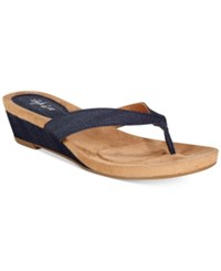 Styleandco. Style Co. Haloe Wedge Thong Sandals Created For Macy's Women's Shoes Denim 2