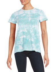 Lord And Taylor Patterned Cotton Tee Sweet Teal