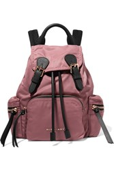 Burberry Small Leather Trimmed Gabardine Backpack Pink
