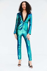 Silence And Noise Sirena Iridescent Suit Pant Dark Turquoise