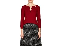 Barneys New York Pearl Embellished Cashmere Sweater Wine