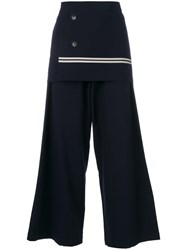 Y's Wrap Front Palazzo Pants Blue