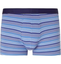 Derek Rose Striped Stretch Cotton Boxer Briefs Blue