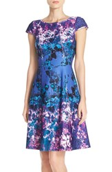 Adrianna Papell Women's Floral Print Scuba Fit And Flare Dress