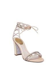 Rene Caovilla Crystal And Suede Ankle Tie Block Heel Sandals Gold