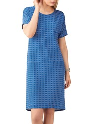 Pure Collection Tile Print Jersey Dress Blue