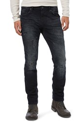 Tom Tailor Denim Straight Leg Jeans Destroyed Dark Stone Wash Destroyed Denim