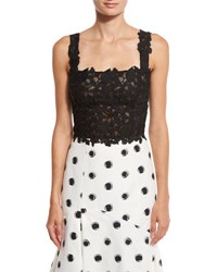 Monique Lhuillier Sleeveless Lace Crop Top Black Black White