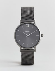 Cluse Minuit Cl30067 Mesh Strap Watch In Grey