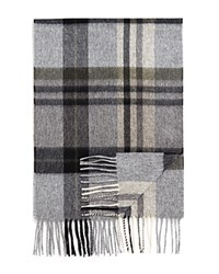 Bloomingdale's The Men's Store At Cashmere Big Plaid Scarf Grey Olive