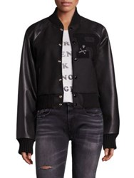 R 13 Leather Sleeve Varsity Jacket Black