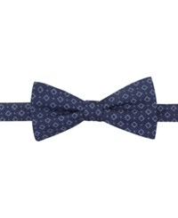 Countess Mara Denim Paisley Pre Tied Bow Tie Navy