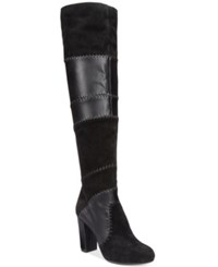 Bar Iii Naomi Patchwork Over The Knee Boots Only At Macy's Women's Shoes Black